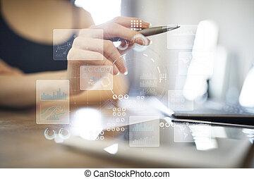 virtuale, tocco, screen., progetto, management., dati, analysis., hitech, tecnologia, soluzioni, per, business., development.