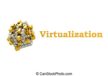 Virtualization concept with gearwheels, 3D rendering