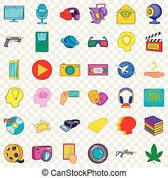 Virtualization icons set, cartoon style - Virtualization...