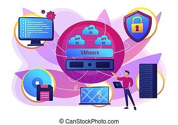Virtualization technology concept vector illustration -...