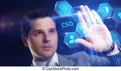 virtuel, business, fonctionnement, concept., inscription:, lunettes, cso, internet, réalité, technologie, jeune, réseau, voit, homme affaires