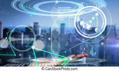 virtuel, cityscape, main, interface, toucher