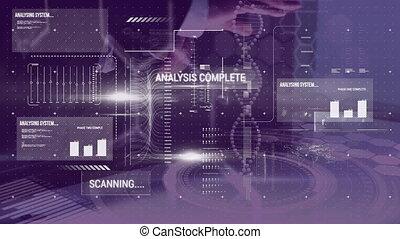 virtuel, données, monde médical, mains, tournant, interface, toucher, adn