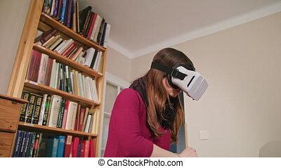 virtuel, femme, jeune, glasses., réalité