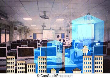 virtuel, fond, résumé, écran, business, toucher