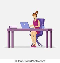 virtuel, ordinateur portable, bureau, dessin animé, plat, vecteur, soutien, indépendant, femme travail, illustration., concept.