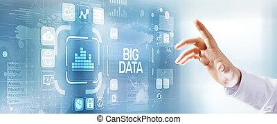 virtuel, screen., données, bouton, analyse, grand, concept., moderne, information, technologie informatique
