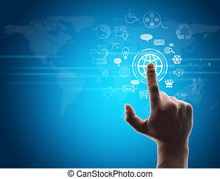 virtuel, urgent, main, bouton