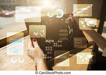 virtuell, berühren, screen., projekt, management., daten, analysis., hitech, technologie, lösungen, für, business., development.