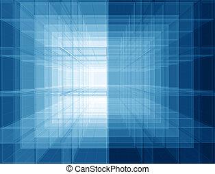 virtuell, blaues, raum