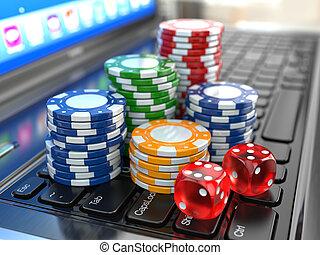 virtuell, casino., online, gambling., laptop, mit, spielwürfel, und, chips.