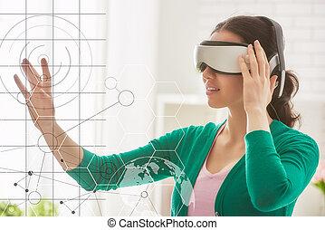 virtuell, frau, glasses., wirklichkeit