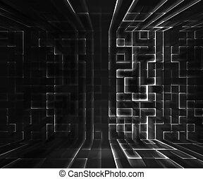 virtuell, hintergrund, raum