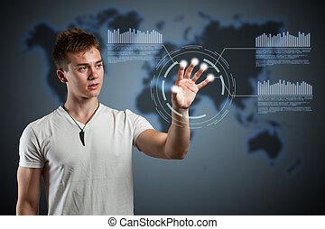 virtuell, interface., wirklichkeit