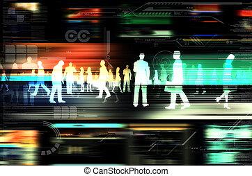 virtuell, leute, tun geschäfts, innenseite, der, virtuell,...