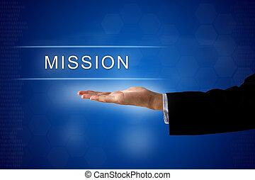 virtuell, mission, knapp, avskärma