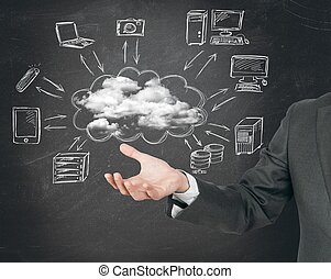 virtuelle, sky, netværk, begreb
