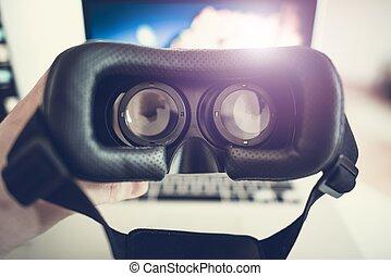 virtuelle wirklichkeit, 3d, schwimmbrille