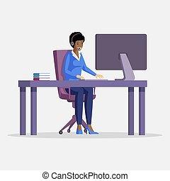virtuelles büro, technisch, wohnung, vektor, unterstuetzung...