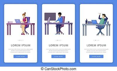 virtuellt ämbete, space., arbete, mobil, app, skärmen, text...