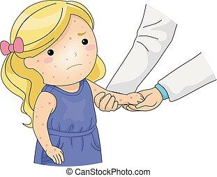 viruela, arriba, ilustración, cheque, niña, pollo, niño