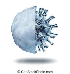 virus, éruption, hiver