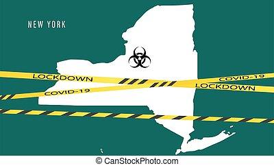 virus, éruption, vecteur, coronavirus., map., outbreaks., concept, nouveau, pandémie, york, couronne