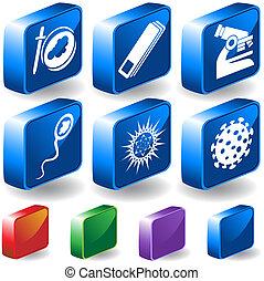 Virus 3D Lab Icon Set - Group of microscopic virus creatures...