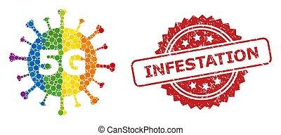 virus, 5g, infestation, timbre, spectre, collage, caoutchouc