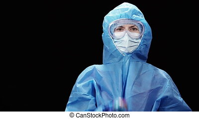 Virus. A virologist in a protective antivirus suit throws up...