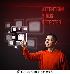 virus, advertencia, mensaje