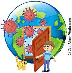 virus, affiche, cellules, porte, conception, thème, coronavirus