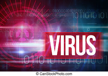 Virus against blue technology design with binary code