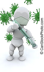 Virus alert - 3d render of a man with a syringe surrounded...