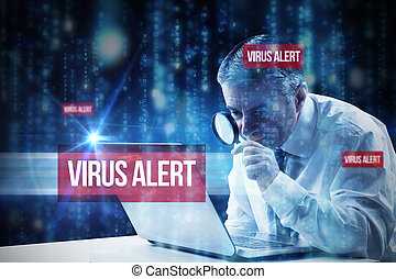 Virus alert against lines of blue blurred letters falling