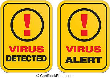 virus alert, virus detected - suitable for warning signs