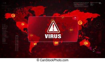 Virus Alert Warning Attack on Screen World Map Loop Motion.