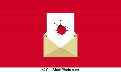 Virus and email HD animation - Bug virus inside email over...