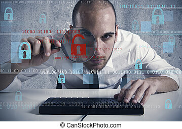 Virus and hacking concept - Businessman looking in a ...