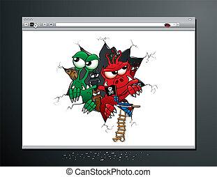 virus, angriff, internet browser
