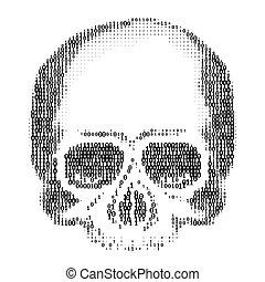 virus, art., spam, computadora, silueta, 1., números, 0, ddos, concepto, cráneo, ascii, tajar
