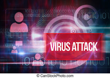 Virus attack against blue technology design with binary code
