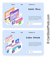 Virus attack and cyber security. Fraud and ransom malware. ...