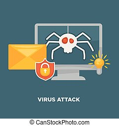 Virus attack on computer in cartoon flat style isolated