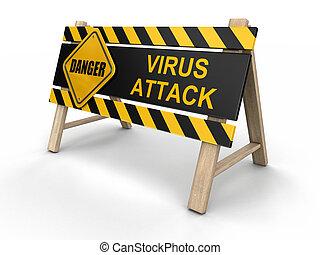 virus, attaque, signe