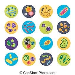 virus, bactérie, icônes, ensemble