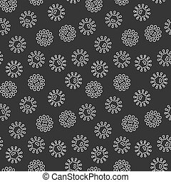 Virus bacteria dark vector seamless pattern