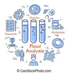 virus, bakterie, blod, -, begrepp, ikon, analys, vektor