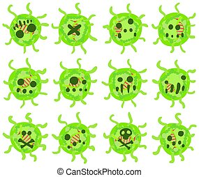 Virus Ball Cartoon Design Element Set