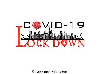 /, virus, bandera, lockdown, ciudad, corona, ilustración, ...